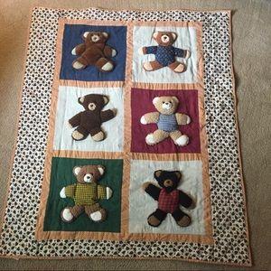 Teddy Bear Quilt Plush Baby Blanket Comforter Rare